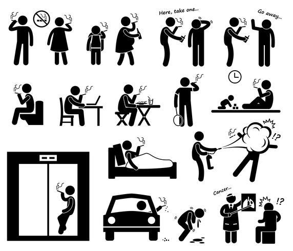 Fumeurs fumant des icônes de pictogramme de bonhomme allumette.