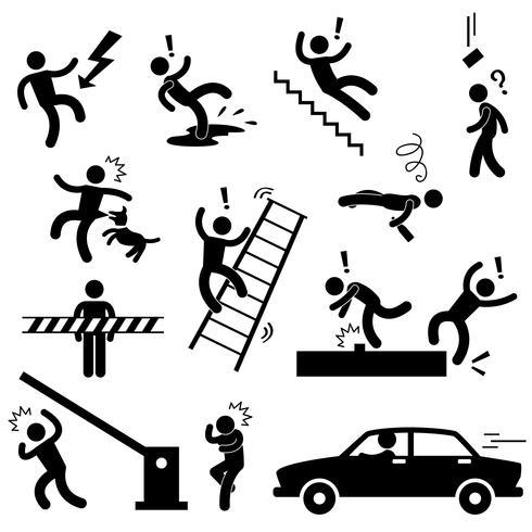 Attenzione Sicurezza Pericolo Elettricità Shock Scivoloso Caduta Incidente d'auto Icona Segno Simbolo Pittogramma.
