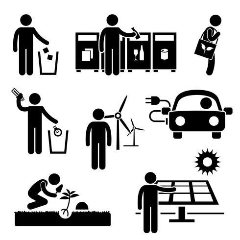El hombre recicla el icono verde del pictograma de la figura del palillo ahorro de energía del ambiente.