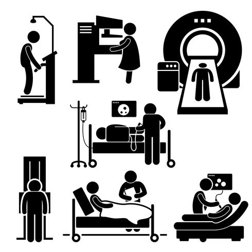 Hospital Medical Checkup Screening Diagnosis Diagnostic Stick Figure Pictogram Icon Cliparts.