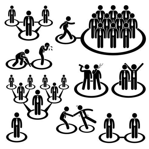 Icône de pictogramme de bonhomme allumette Business Network Connection.