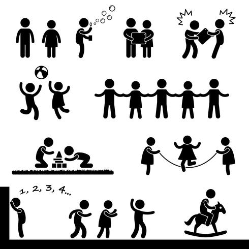 Glückliche Kinder, die Ikonen-Symbol-Zeichen-Piktogramm spielen.