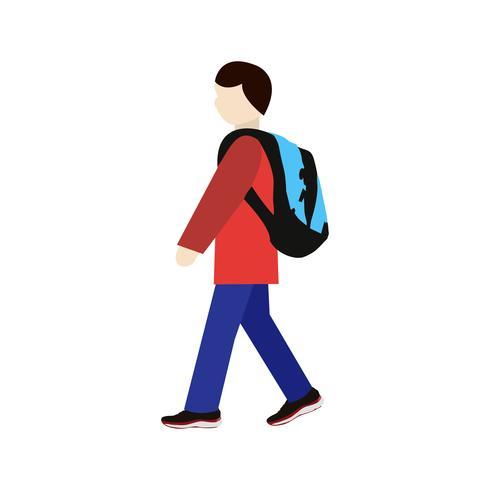 Vector lopen naar school pictogram