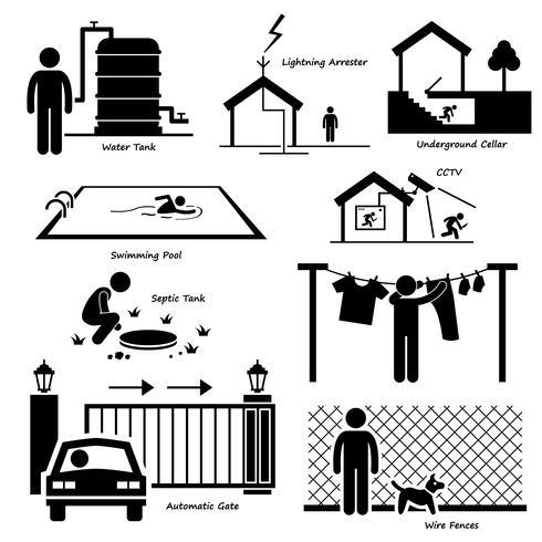 Home Hausstruktur im Freien Infrastruktur und Armaturen Strichmännchen Piktogramm Symbol Cliparts.