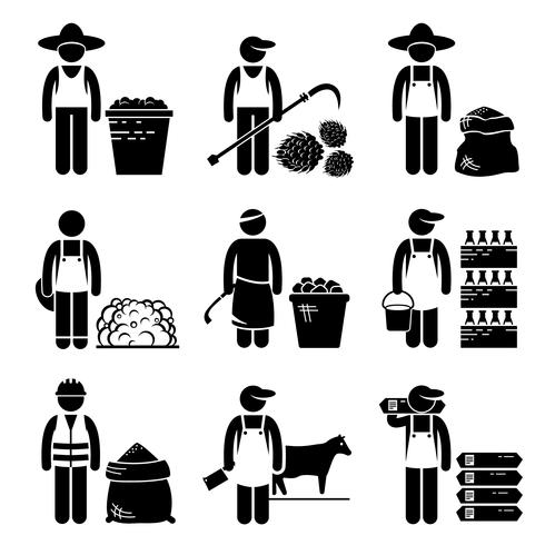 Commodities Alimentos Agrícolas Grãos Carne Stick Figure Pictogram Icons.