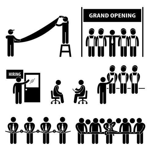 Business Grand Opening Scissor Cut Ribbon Hiring Arbetsjobb Intervju Stick Figure Pictogram Icon. vektor