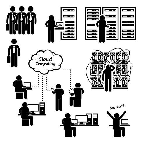 IT Engineer Technician Admin Computer Netzwerk Server Rechenzentrum Cloud Computing Strichmännchen Piktogramm Symbol.