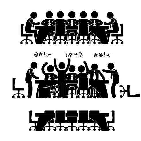 Reunión de negocios Discusión Lluvia de ideas Lugar de trabajo Situación de la oficina. vector