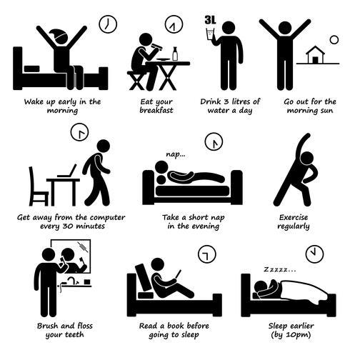 Tägliche Routine-Tipps für gesunde Lebensstile Strichmännchen-Piktogramme. Wie werde ich gesünder?