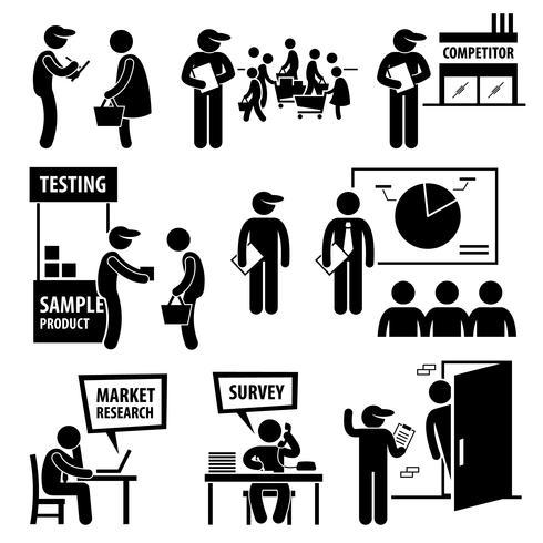 Icone di Pictogram di figura di ricerca di analisi di indagine del mercato aziendale. vettore