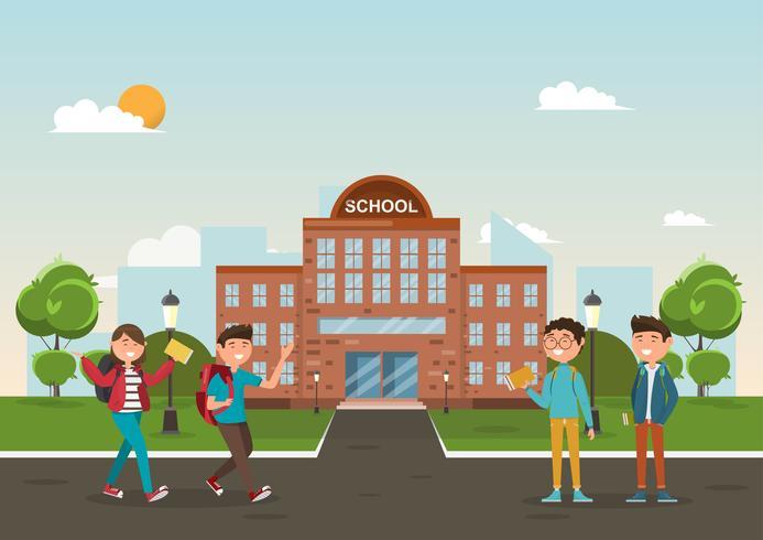 studenter i olika karaktär i skolan