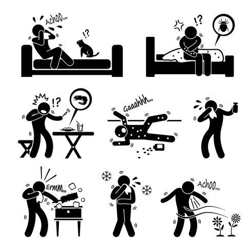 Allergie-reacties van dierlijk voedsel milieu op menselijke stok figuur Pictogram pictogram Cliparts.