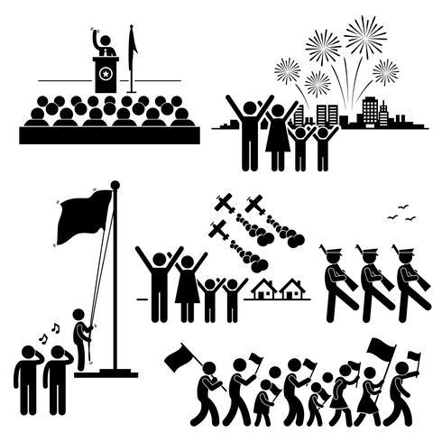 Gente que celebra el icono de pictograma de figura patriótica festiva día de la independencia de día nacional.