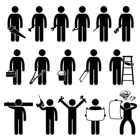 Handyman Worker using DIY work tools Stick Figure Pictogram Icons.