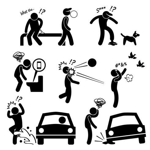 Desafortunado hombre mala suerte personas Karma Stick figura pictograma icono.