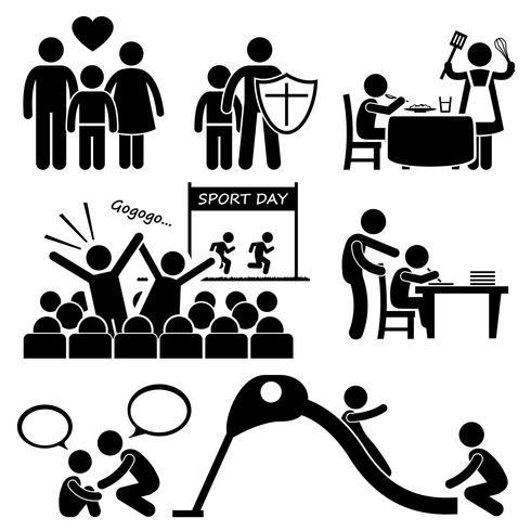 Les enfants ont besoin de l'amour des parents prend en charge Stick Figure Pictogram Icon Cliparts. vecteur
