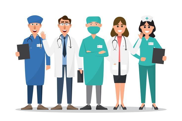 Set av läkare och sjuksköterska tecknade tecken