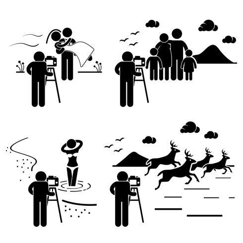 Família de casamento modelo vida selvagem fotógrafo fotografia stick figura pictograma ícone.
