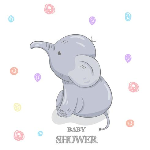 Cute baby elephant hand drawn vector