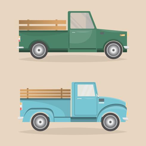 Satz von alten Retro-Pickup-Lieferung innerhalb Bauernhof