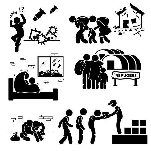 Refugiados Evacuado guerra Stick Figure pictograma ícones.
