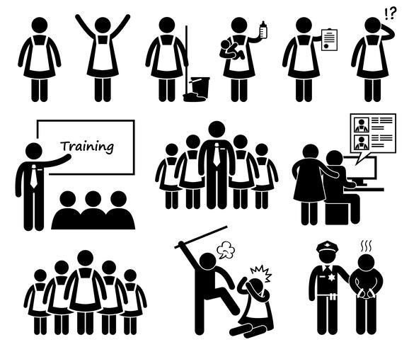 Agência de empregada extrangeira Stick Figure pictograma ícones. vetor