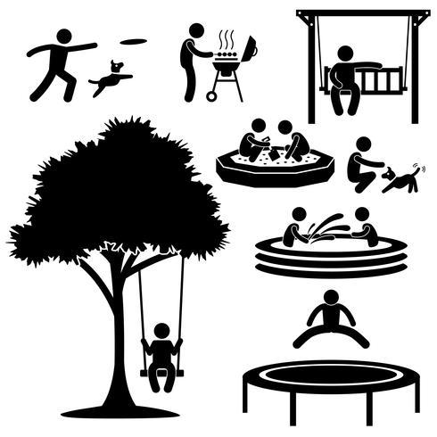 Niños Hogar Jardín Parque Zona de juegos Patio trasero Ocio Recreación Actividad Figura de palo Icono de pictograma. vector