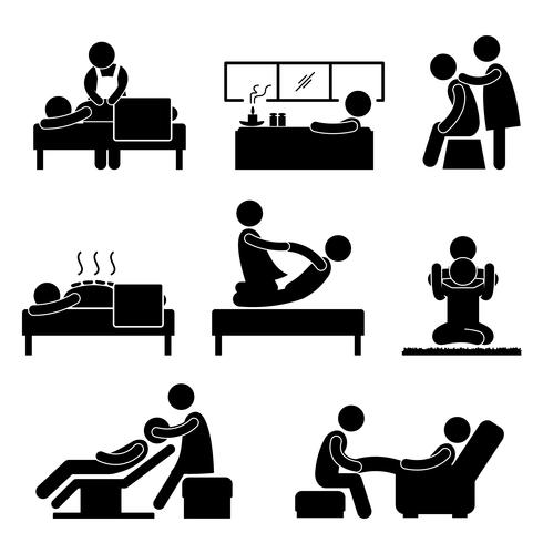 Massage Spa Therapie Wellness Aromatherapie Pictogram Teken Pictogram.