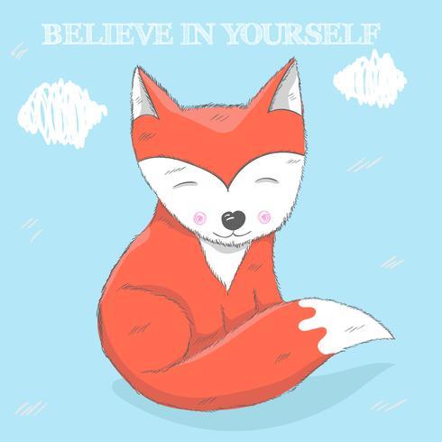 Cute little Fox mão desenhada