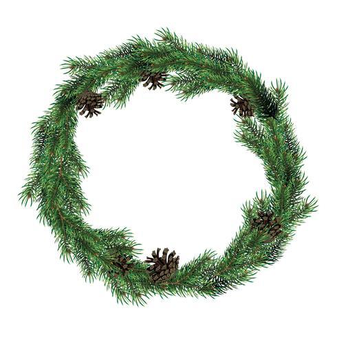 Julkrans av gran grenar med koner. Grön gran julkrans.