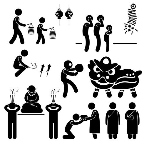 Icône de pictogramme de bonhomme allumette chinois asiatiques Chine religion tradition. vecteur