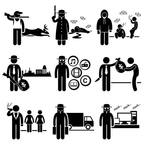 Illegal Activity Crime Jobs Occupations Careers. vector