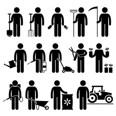 Gardener Man Worker med hjälp av trädgårdsredskap och utrustning Stick Figure Pictogram Ikoner. vektor