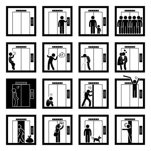 Coisas que as pessoas fazem dentro de elevador elevador Stick Figure pictograma ícones.