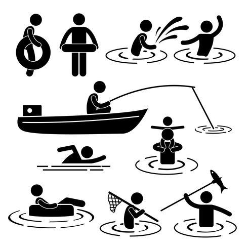 Lazer da natação da natação das crianças que joga na figura ícone da vara da água do rio do pictograma.