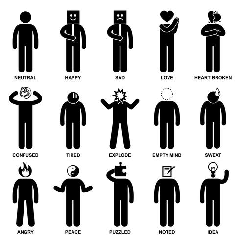 Man Emotion Feeling Expression Attitude Stick Figure Pictogram Icon.