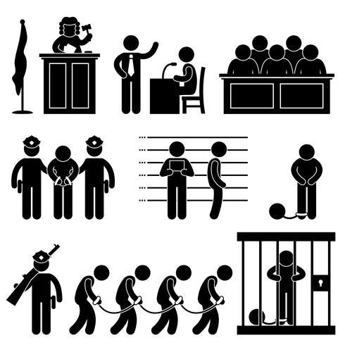 Juez del tribunal Ley Cárcel Prisión Abogado Jurado Icono criminal Símbolo Signo Pictograma.