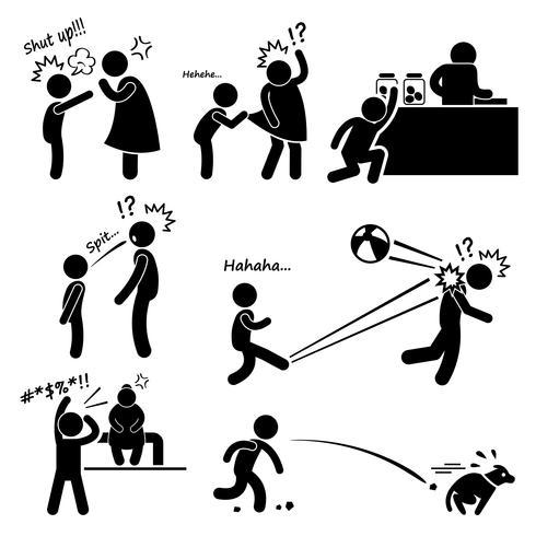 Ondeugende slechte onbeleefde opstandige klein kind Kid jongen stok figuur Pictogram pictogram. vector