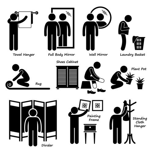Home House Accessories and Decorations Stick Figure Pictogram Icon Cliparts. vector