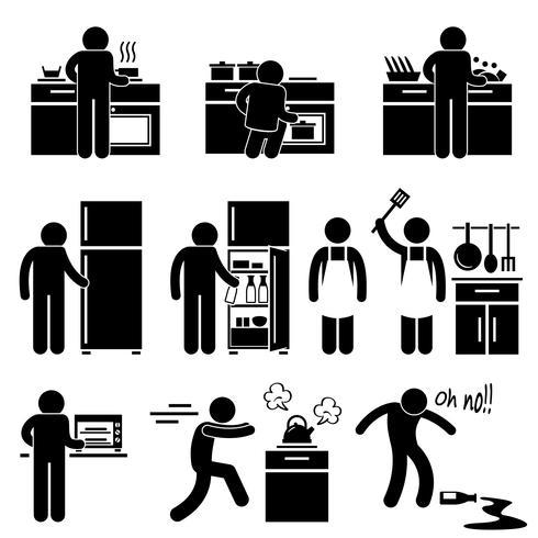 Man Cooking Kitchen Using Washing Equipment Stick Figure Pictogram Icon.