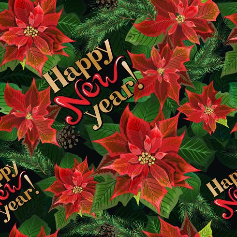 Christmas seamless pattern with poinsettia flowers, fir branches, and lettering