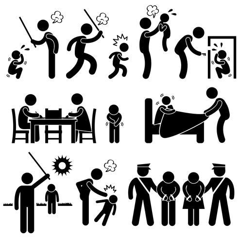 Familia Abuso Niños golpeando el icono de pictograma de figura de palo de acoso sexual de Confine.