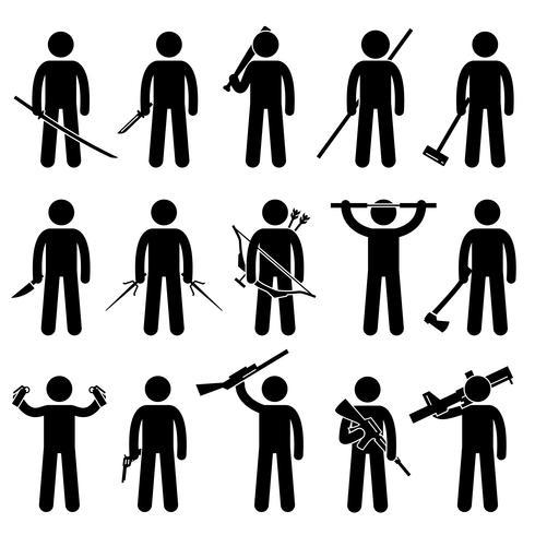 Homme tenant et utilisant des armes icônes de pictogramme de bonhomme allumette.