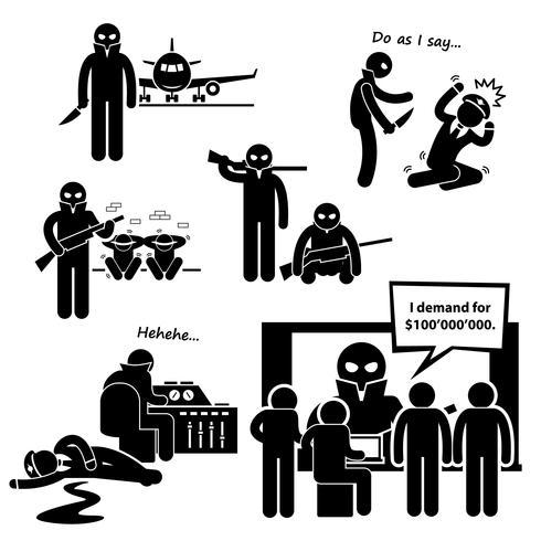 Hijacker Terrorist Airplane Stick Figure Pictogram Ikon Clipart.
