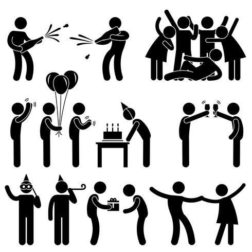Vän Fest Firande Födelsedag Ikon Symbol Underteckna Pictogram.