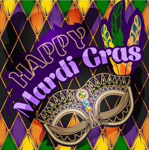 Mardi Gras mask, colorful poster, template, flyer. Vector illustration
