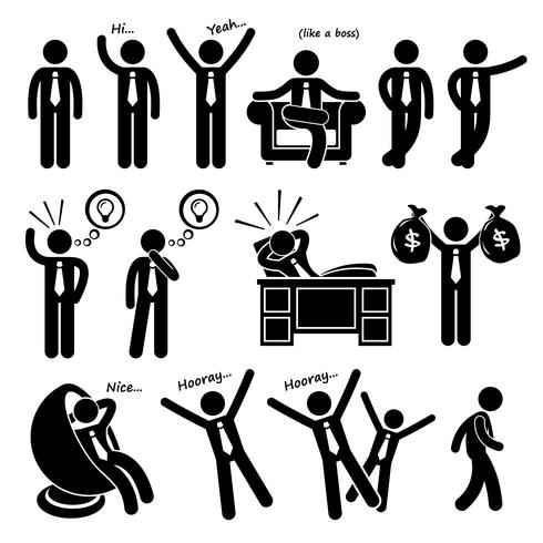 Hombre de negocios feliz exitoso Poses Stick Figure pictograma iconos. vector