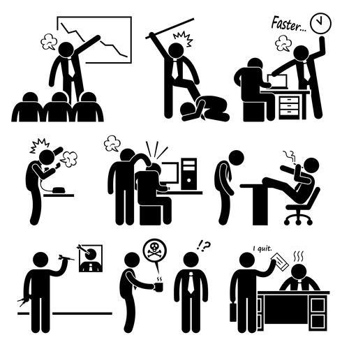 Chefe zangado abusando empregado Stick Figure pictograma ícone.