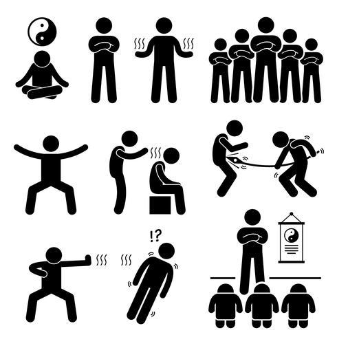 Qigong Qi Energy Power Stick Figure Pictogram Icons.