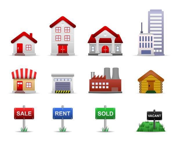 Real Estates Property Icons Vector.